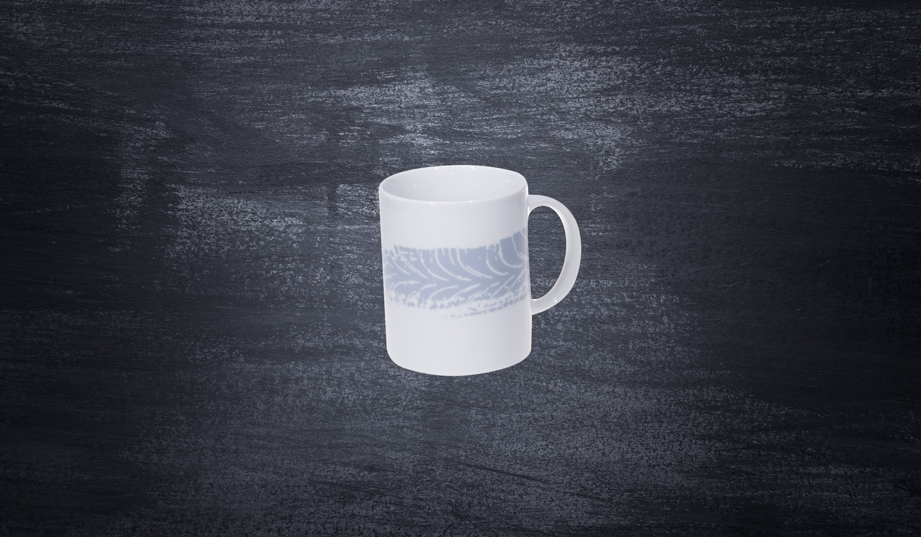 DMEC porcelain mug with trace of a tire white