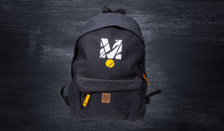 Drift Masters backpack with trace of a tire