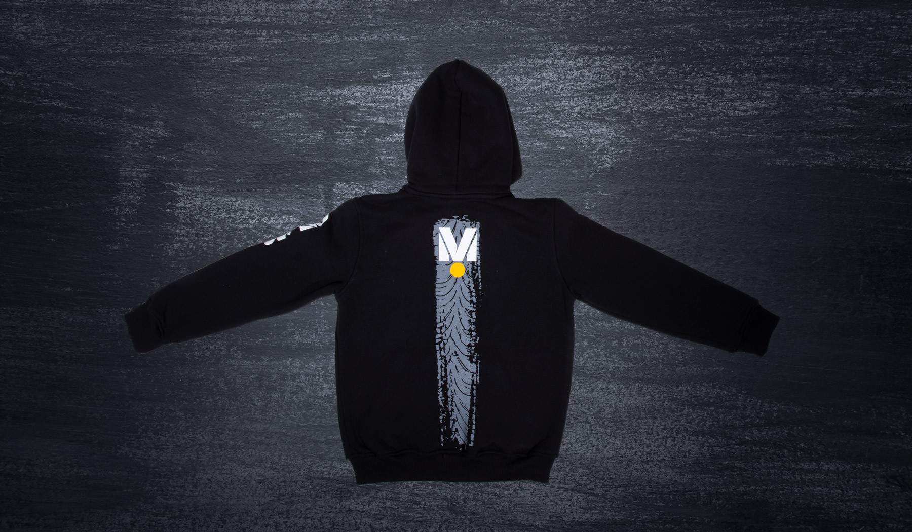 DMEC hooded sweatshirt black/grey tire motif
